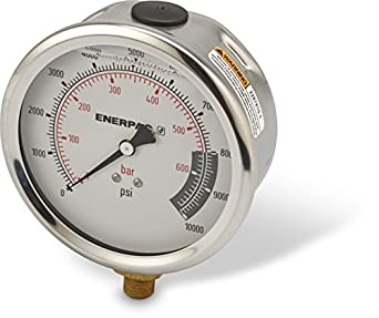 "Enerpac G4088L 4""-Dia. Hydraulic Pressure Gauge with Dual 0 to 10,000 PSI and 0 to 700 Bar Range, 1/4"" NPTF Male Lower-Mount Connection"