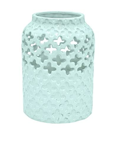 Three Hands 13 Pierced Ceramic Vase, Turquoise