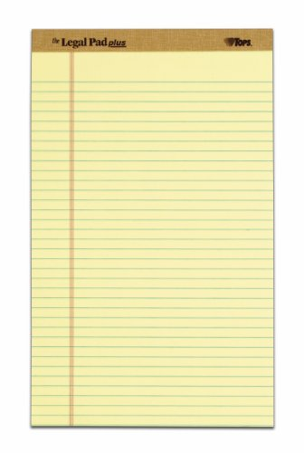 TOPS The Legal Pad Plus Legal Pad, 8-1/2 x 14 Inches, Perforated, Canary, Legal/Wide Rule, 50 Sheets per Pad, 12 Pads per Pack (71572) kitave82202unv20630 value kit avery allstate style legal side tab divider ave82202 and universal perforated edge writing pad unv20630