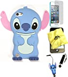 Bukit Cell ® 3D Disney Case Bundle - 5 items: BLUE 3D Cute Stitch Soft Silicone Case Cover for iPod Touch 5 5G 5th Generation + BUKIT CELL Trademark Lint Cleaning Cloth + Stitch Figure Anti Dust Plug Stylus Touch Pen + Screen Protector + METALLIC Stylus Touch Pen with Anti Dust Plug