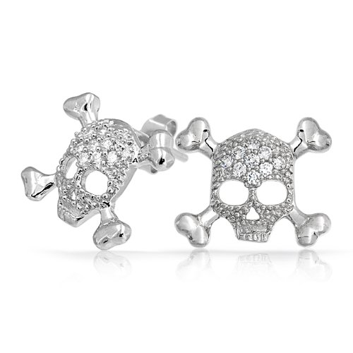 Bling Jewelry CZ Pave Sterling Silver Skull and Crossbones Stud Earrings