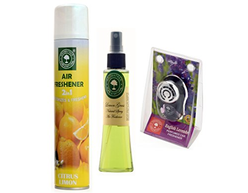 2in1 Citrus limon Air Freshener 300 ml And Lemon Grass Natural Spray 75 ml With English Lavender Pure Car Perfume 10 ml