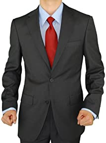 Presidential Giorgio Napoli 2 Button Mens Suit Modern Business Fit Charcoal Gray