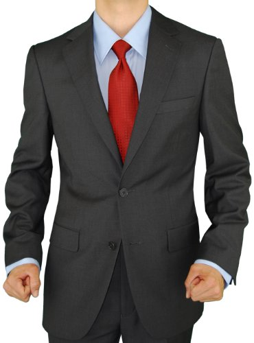 Presidential Giorgio Napoli 2 Button Mens Suit Modern Business Fit Charcoal Gray (38 Short US)