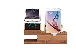 AIDEFU Wireless Charging Station,Bamboo Wood Wireless Charging Stand with 5 Ports USB Charging Mount Holder for iPhone 5 5S 6 6S Plus