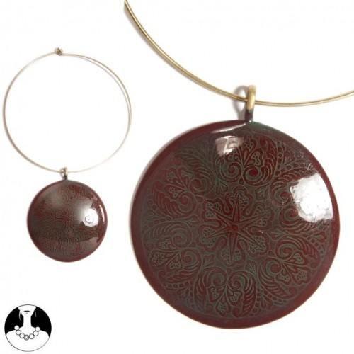 sg paris women necklace choker gold old pink comb enamel/metal