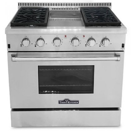 Thor Kitchen HRG3609U 36″ Freestanding Gas Range Convection Oven in Stainless Steel