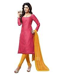 Varanga Pink Embroidered Dress Material with Matching Dupatta KF6MGC6007