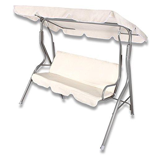 Hollywoodschaukel Gartenschaukel Schaukel Gartenliege Bank Gartenmöbel 3-Sitzer in Beige günstig