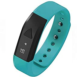 EFOSHM BLUE Upgrated K5 Plus Wireless Activity and Sleep Monitor Pedometer Smart Fitness Tracker Wristband Watch Bracelet for Men Women Boys Girls Ladies Man Iphone Sumsung HTC (Blue)
