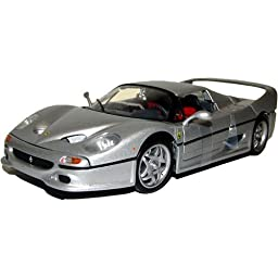 Hot Wheels 1/18 Ferrari F50 die-cast silver