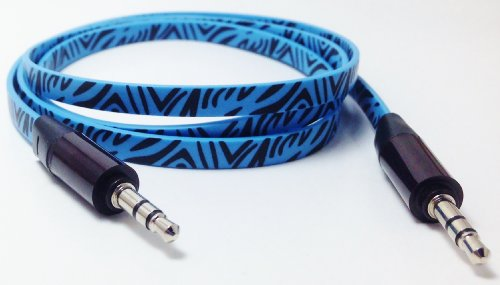 Cablesfrless (Tm) 3Ft 3.5Mm Patterned Tangle Free Auxiliary (Aux) Cable (Zebra Blue)