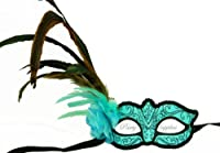 Halloween masquerade mask Baby blue Turquoise Feather Venetian Eye Mask by PartyWorldSupplies