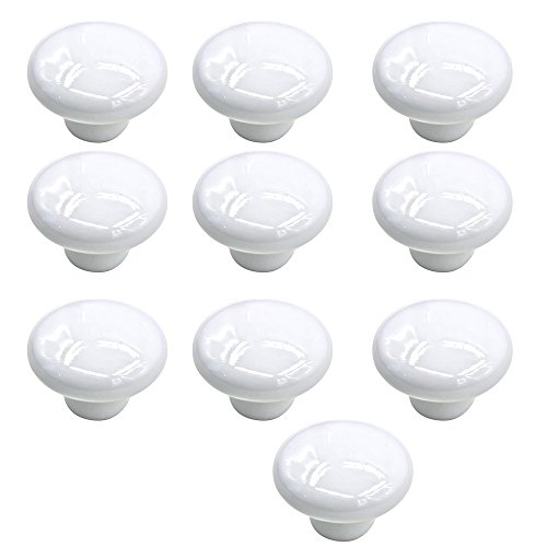 10 Pcs 33mm Small Ceramic Round Solid Color Pull Handles Kitchen Cabinet Cupboard Drawer Door Knobs White (White Kitchen Cabinets Drawers compare prices)