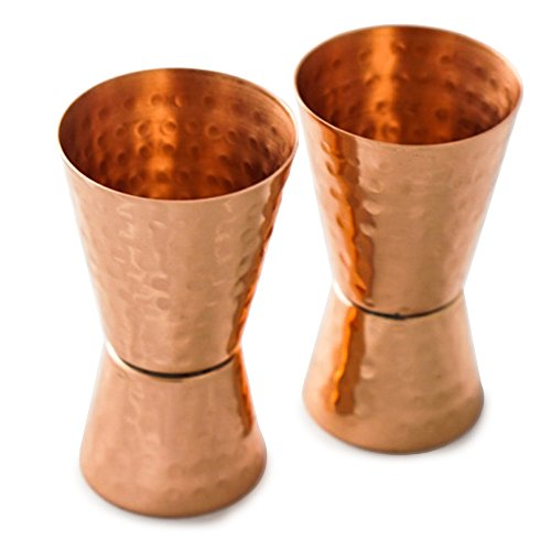 Copper Double Jigger Cocktail Shot Glasses. Set of 2 Hammered 100% Solid Copper 2-Sided Bar Jiggers. 1oz & 2oz. Mix Perfect Craft & Classic Drinks At Your Next Party! Excellent Christmas Gifts! (Double Sided Shot Glass compare prices)