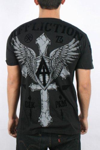 Affliction - Mens Do It Again SS V-Neck T-Shirt In Black, Size: Large, Color: Black