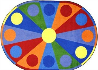 "Joy Carpets Kid Essentials Early Childhood Oval Color Wheel Rug, Multicolored, 7'8"" x 10'9"""
