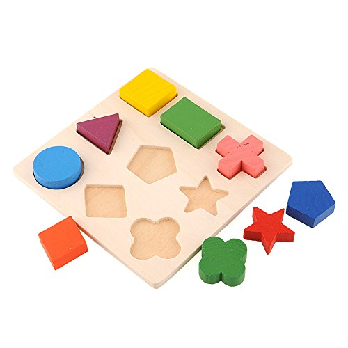Geometry Shape Wooden Pattern Stacking Building Block Toy Montessori Educational Brain Training Intellectual Play Puzzle - 1