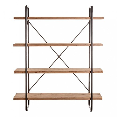 Indhouse-scaffale, stile industriale per decorazione vintage in metallo e legno Wilder