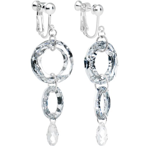 Handcrafted Crystal Elegance Layered Ellipse Dangle Clip Earrings MADE WITH SWAROVSKI ELEMENTS