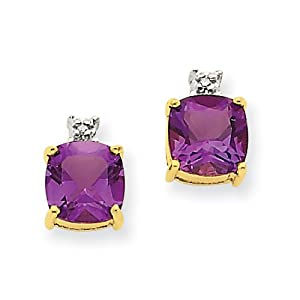 Genuine IceCarats Designer Jewelry Gift 14K Yellow Gold Amethyst & Diamond Post Earrings In 14K Yellow Gold