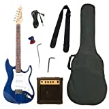 Barcelona Beginner Series Double Cutaway Electric Guitar Bundle with 10-Watt Amp, Gig Bag, Instrument Cable, Tremolo Bar, Strap, Strings, Picks, and Polishing Cloth - Blue ~ Barcelona