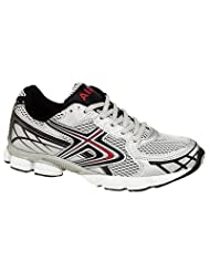 Mens Shock Absorbing Running Trainers silver/black/red Size 8 UK
