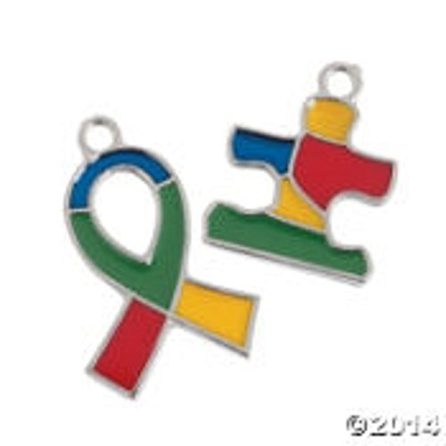 Autism Awareness Ribbon & Puzzle Piece Charm - 2 Dozen