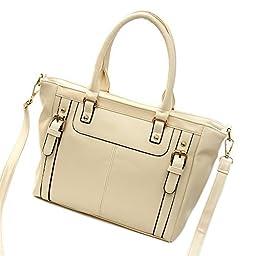 SHENGXILU Women\'s PU Leather Handbag Beige