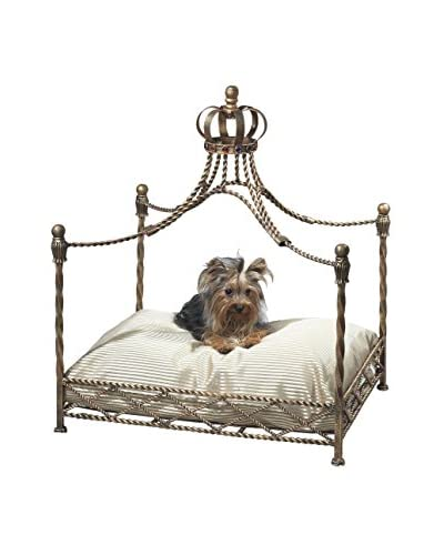 Antique Iron Crown Canopy Pet Bed, Gold