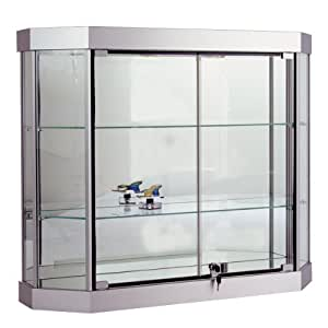 silver hexagon wall mount display case 38 w x 10 sports related collectibles. Black Bedroom Furniture Sets. Home Design Ideas