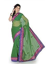 Designersareez Women Chiffon Embroidered Sea Green Saree With Unstitched Blouse(1183)