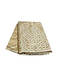 JDK NOVELTY Brocade Unstitched Fabric - Floral print cream base(A-10) One meter long