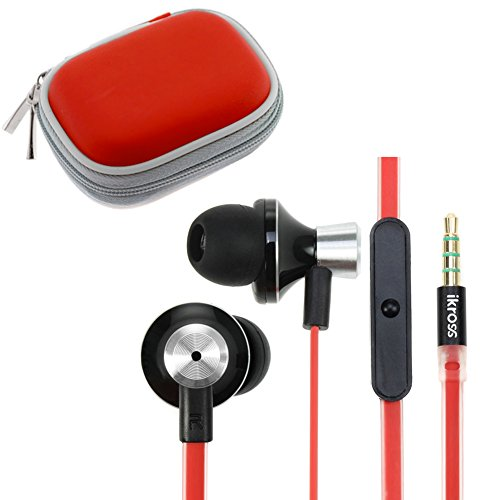 Ikross In-Ear 3.5Mm Noise-Isolation Stereo Earbuds With Tangled Free Flat Wire Microphone + Accessories Carrying Case For Blackberry, Htc, Lg, Motorola, Pantech, Huawei, Nokia, Sony, Apple Iphone, Ipod, Ipad, Samsung, Asus, Acer And Other Android Cell Pho