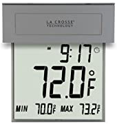 La Crosse Technology 306-605 Solar Window Outdoor Thermometer with Nighttime illumination and MIN/MAX records with Auto-reset