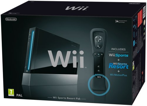 Nintendo Wii Console (Black) with Wii Sports + Wii Sports Resort and Motion Plus Controller (Wii)