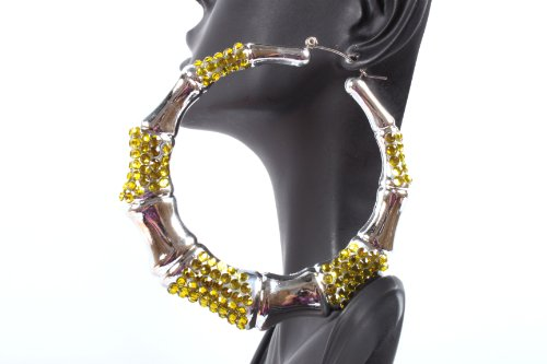 Yellow and Silver Shamballah 2.5 Inch Bamboo Hoop Earrings Iced Out Basketball Mob Wives Lady Gaga Poparazzi