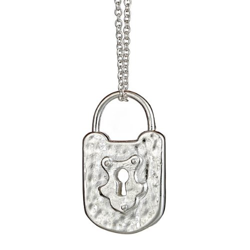 Sterling Silver Textured Vintage Lock Necklace 16