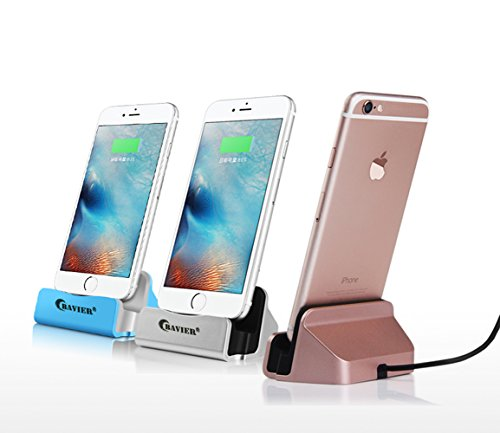 iPhone Charger Dock,BAVIER iPhone Desk Charger,Charge and Sync Stand for iPhone 7 iPhone 6 iPhone 6s plus,iPhone Charger Station,Charge cradle,desktop iphone charger (silver)