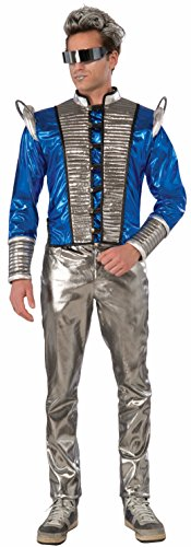 Metallic Cosmic Futuristic Men Jacket Costume Accessory Blue Silver Outer Space (Futuristic Space Costume compare prices)