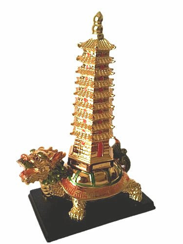 Feng Shui 9 Levels of Wen Chang Pagoda on a Dragon Tortoise