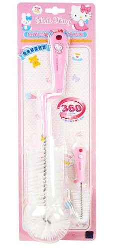 Sanrio Hello Kitty 360 Rotating Bottle Brush w/ Pacifier Brush Set (BPA Free)