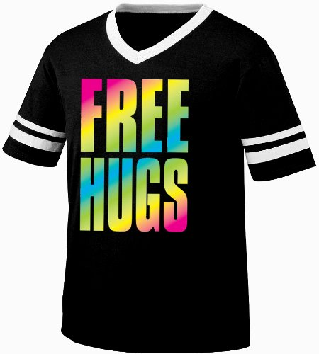 Oversized Rainbow Free Hugs Mens Ringer T-shirt, Big and Bold Neon Free Hugs Men's Ringer Shirt,  Black/White