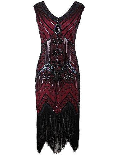 Vijiv Women 1920s Gastby Sequin Art Nouveau Embellished Fringed Cocktail Dresses, Wine Red, X-Large