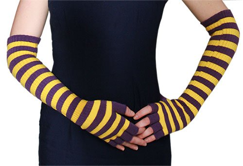 Purple and Gold Striped Acrylic Arm Warmers by Red Carpet Studios