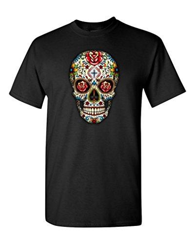 Sugar Skull Roses T-Shirt Day Of Dead Shirts #16553 X-Large Black