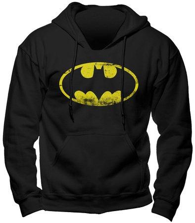 Batman - Felpa deluxe con cappuccio e stampa del logo vintage dell'eroe della DC Comics - Nero - L