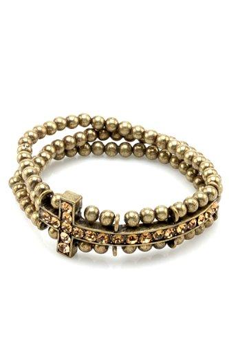 Gold Burnished Multi Layer Beaded Bracelet with Rhinestone Sideways Side Cross Charm