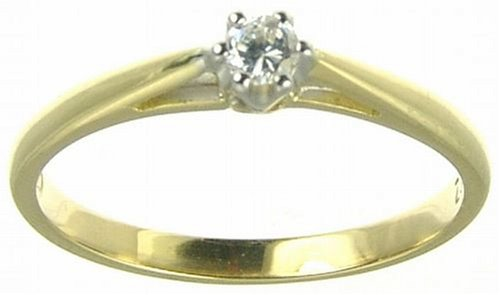 18ct Yellow Gold Diamond Engagement Ring With Round Brilliant Diamond Solitaire, 0.10 Carat Diamond Weight