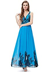 Ever Pretty V-neck Printed Chiffon Ruched Empire Line Maxi Party Dress 09641
